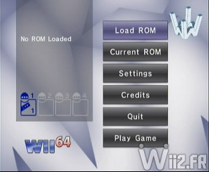 Wii 64 - Interface d'accueil