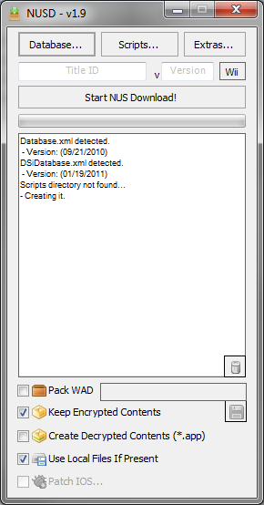 Premier demarrage de NUS Downloader